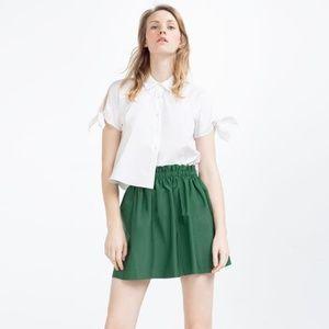 NWT Zara Size M Green Satin Mini SKirt